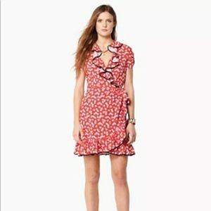 JUICY COUTURE Heart Print Ruffled Wrap Dress